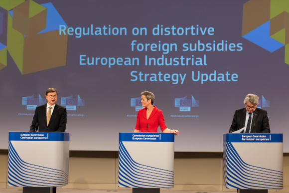 Valdis Dombrovskis, Margrethe Vestager, Thierry Breton on the Foreign Subsidy instrument