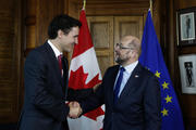 Justin Trudeau en Martin Schulz tijdens een ontmoeting