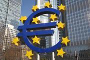German artist Ottmar Hörl sculpture depicting the Euro logo in front of former headquarter of the European Central Bank (ECB)