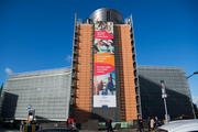 Berlaymont Building with banner on 'European Pillar of Social Rights'