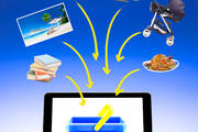 Examples of products to buy online, with the drawing of a basket on a laptop screen