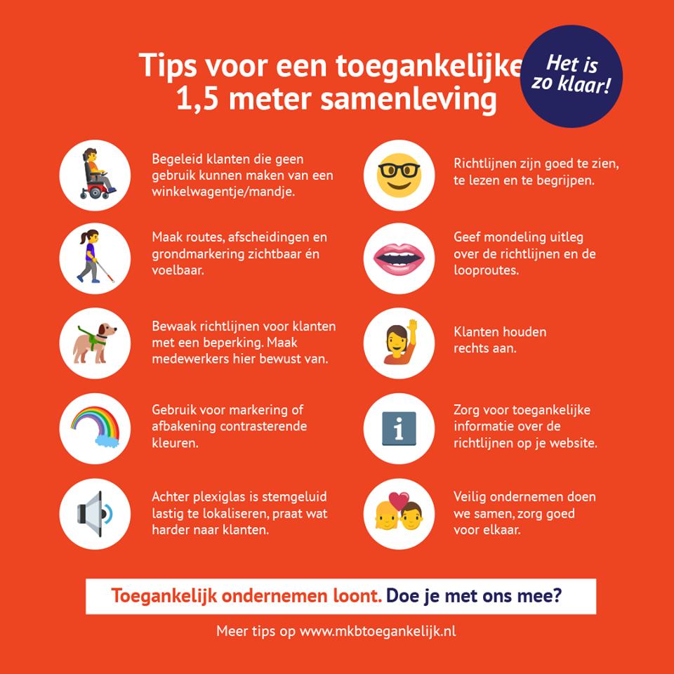 Flyer tips voor 1,5 meter maatregelen voor mensen met een beperking